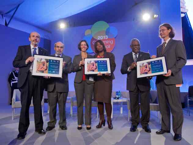 The author (far left) receiving the Rome-Based Agencies Award to the best collaboration at IFAD HQs., Rome. Picture credit: IFAD.