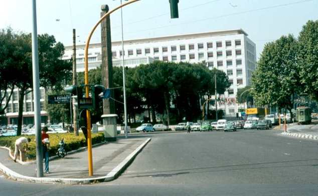 FAO Headquarters, Rome, in the eighties. The Axum obelisk in the foreground is no longer as it was returned to Ethiopia in 2005.