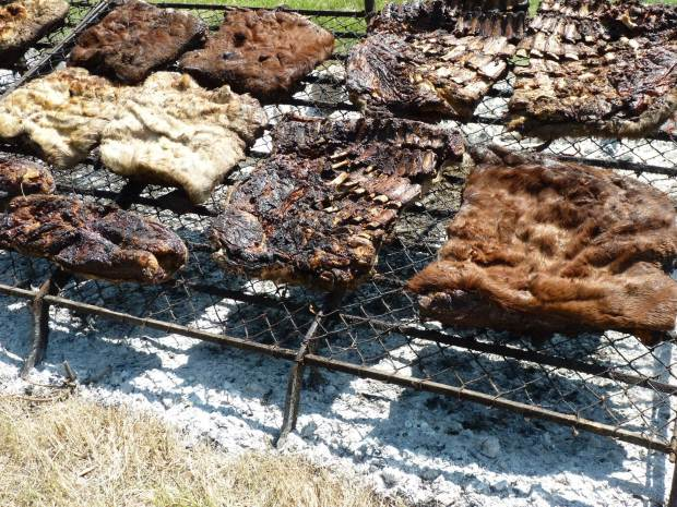 asado con cuero close up