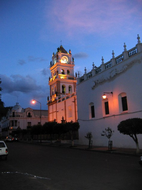 A church at dusk in Sucre.