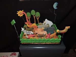 """This animal """"salad"""" was made with wood pieces. Included because my blog is on wildlife!"""