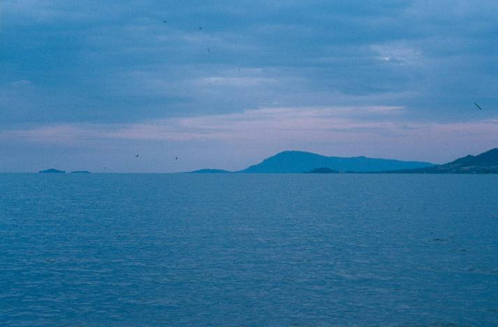 A tip of Rusinga island in the forefront (right) with Mfangano island in the back.