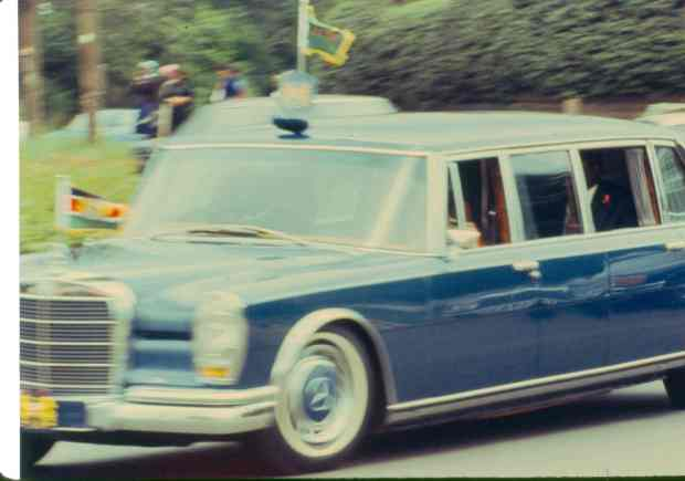 I took this picture of President's Moi motorcade. Later I learnt that this was not allowed!