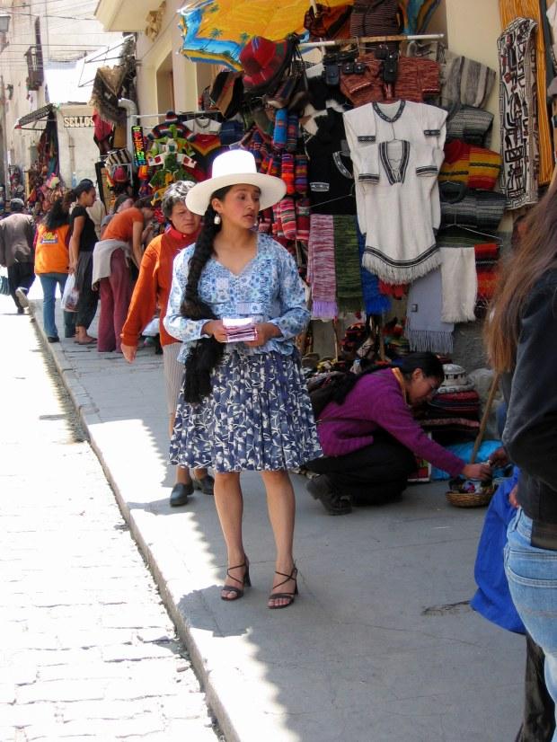 Market street of La Paz, Bolivia.
