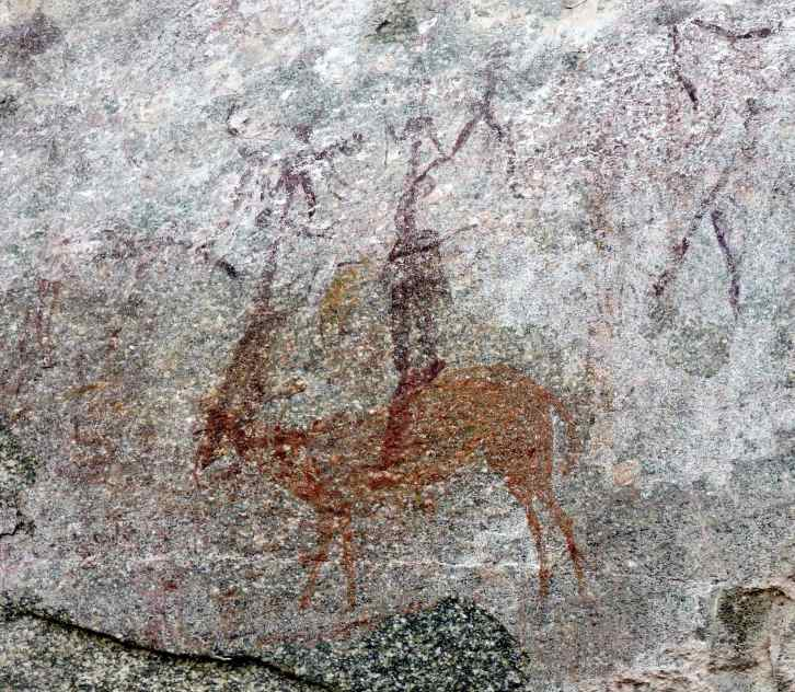 Although it seems that there is a rider on the antelope this is probably the way the painting of the hunters and the animal was done.