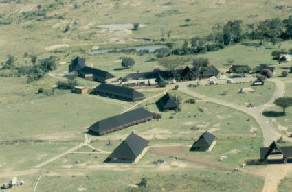 Keekorok lodge in the Maasai Mara game reserve seen from the air.