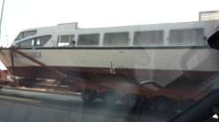 One of the boat lorries being overtaken while breaking a few traffic rules... Pic by Mabel de Castro.